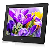 MRQ 8 Inch Digital Picture Frame Play Photos with Slideshow, 4:3 Full HD IPS Display 180° View Angle Digital Photo Frame with MP3, Calendar, Alarm, New Remote Control Black