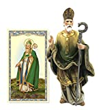 Elysian Gift Shop Saint Patrick 4' Resin Statue with Laminated Prayer Card Included- Irish Patron Religious Figure