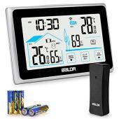 Qomolo Stazione Meteorologica con Sensore Esterno, Termometro Igrometro Digitale con Schermo LCD, Stazioni Meteo Interno Esterno Termoigrometro Digitale