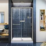 DreamLine Infinity-Z 44-48 in. W x 72 in. H Semi-Frameless Sliding Shower Door, Clear Glass in Brushed Nickel, SHDR-0948720-04