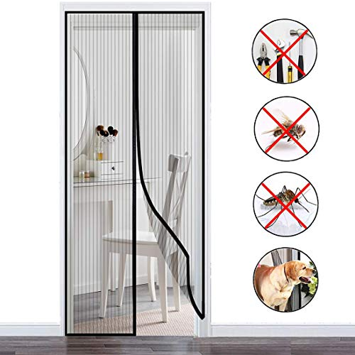 THAIKER Magnetic Screen Door, 75x220cm(30x87inch) Heavy Duty Mesh Curtain Keeps Fresh Air in and Mosquitoes for Keep Bugs Fly Out, Black A