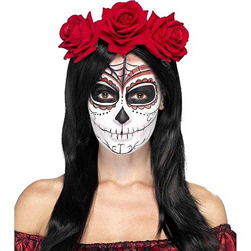 Smiffy'S 27744 Diadema Del Día De Muertos Con Rosas Rojas, Rojo, Tamaño Único