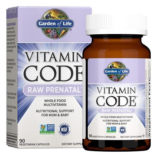 Garden of Life Vitamin Code Raw Whole Food Prenatal Multivitamin with Iron, Folate not Folic Acid, Best Vegetarian Gluten Free Prenatals for Women, 90 Count