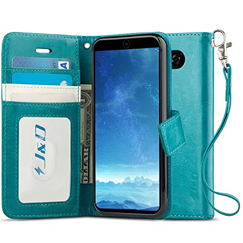 J&D Case Compatible for LG V35 Case/LG V35 ThinQ Case/V30S Case/V30S ThinQ Case/LG V30/LG V30 Plus Case, [Wallet Stand] [Slim Fit] Heavy Duty Protective Shockproof Flip Wallet Case for LG V30 Case