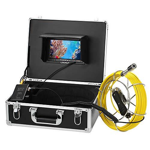 Lixada Ecoscandaglio da Pesca 30M Fotocamera di Ispezione delle Fognature di Scarico 7' da Monitor LCD 12 Visioni Notturne di LED IP68 Fotocamera Impermeabile a Prova di Endoscopio (30M 2)
