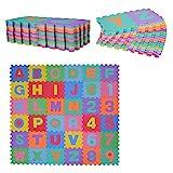 HOMCOM Alfombra Puzzle Infantil 36 Piezas de 31x31cm Números del 0 al 9 y 26 Letras Alfabeto Goma...