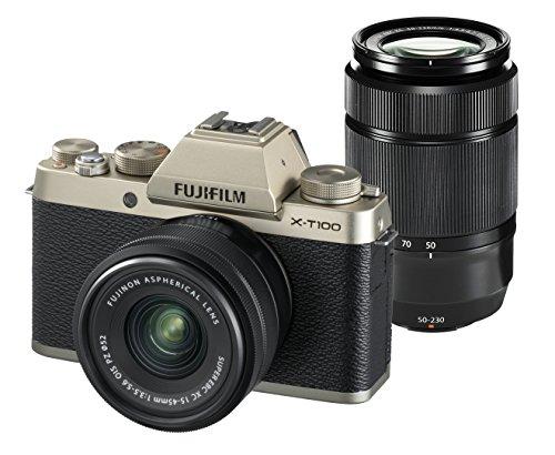 FUJIFILM ミラーレス一眼カメラ X-T100ダブルズームレンズキット シャンパンゴールド X-T100WZLK-G