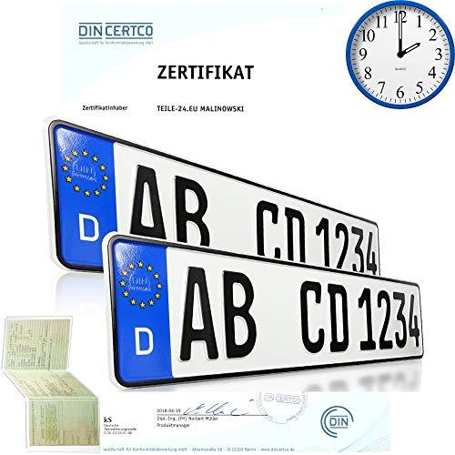 2 x EU KFZ Nummernschilder Autoschilder Kennzeichen ALLE AUTOMARKEN mit individueller Prägung nach Ihren Vorgaben. BEI BESTELLUNGEN BIS 14:00 UH Versand AM GLEICHEN WERKTAG (kein Saison Kennzeichen)