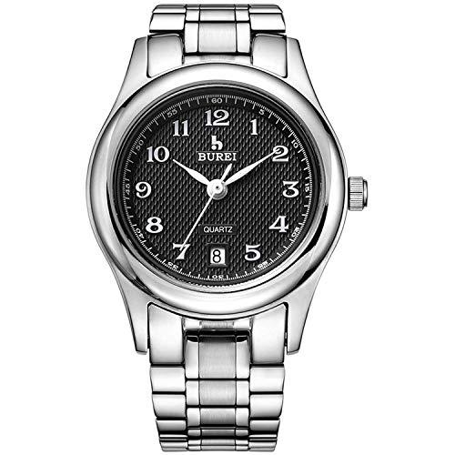 BUREI Damen Analog Quarz Armbanduhr mit Datumsanzeige und Edelstahlband(Damenuhr (Weiß)