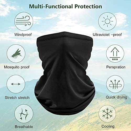 Dlala 3 Pieces Neck Gaiter Face Mask Bandana Summer Neck Cover Scarf Sun UV Protection Dustproof Breathable for Cycling