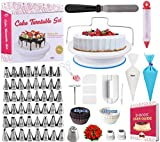 Cake Decorating Supplies Kit for Beginners, Set of 195, Baking Pastry Tools, 1 Turntable stand-48 Numbered Icing Tips with Pattern Chart, Angled Spatula, 1 Russian Piping nozzles-Baking Tools