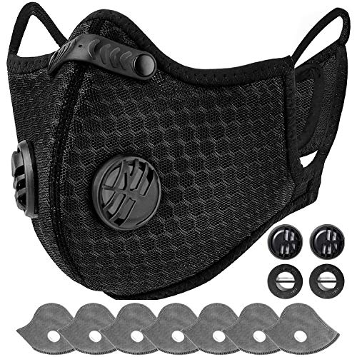 AstroAI Reusable Dust Face Mask with 7 Filters - Personal Protective Adjustable for Running, Cycling, Outdoor Activities(Black, 1 Mask + 7 Activated Carbon Filters +4 Breathing Valves)…