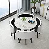 Dining Table Set - 5 Piece Round Dining Set with 4 Chairs Dining Table Set for Small Spaces Kitchen Table and Chairs Dining Room Table Modern Home or Restaurant (White Table + Black and White Chair)
