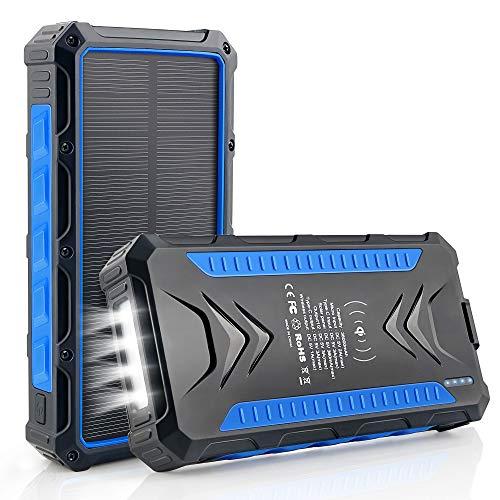DJROLL 36000mAh Batterie Externe Solaire, Qi sans Fil Chargeur Solaire 2 Ports USB et 1 Type-C...