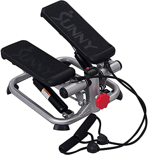 Sunny Health and Fitness SF-S0978 Total Body Mini Stair Stepper Machine with Resistance Bands Bundle with Deco Essentials 32 oz Leakproof BPA Free Water Bottle and Workout Cooling Sport Towel