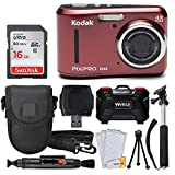 Kodak PIXPRO FZ43 16.15MP Digital Camera with 4X Optical Zoom + SanDisk 16GB Ultra SDHC 80MB/s Memory Card (Class 10) + Point & Shoot Camera Case + Extendable Monopod + Accessories (Red)