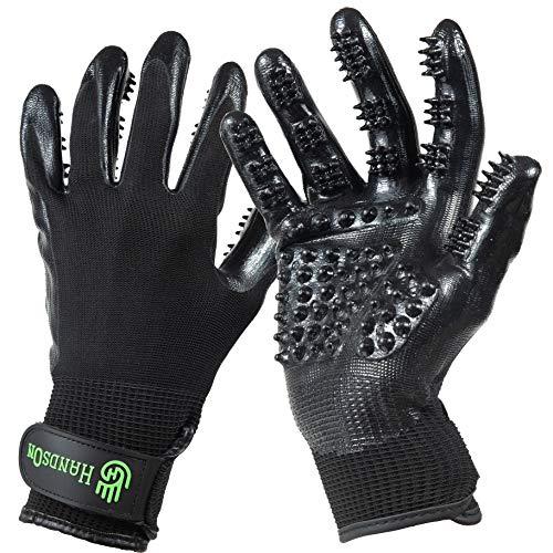 Handson Pet Grooming Gloves - #1 Ranked, Award Winning Shedding, Bathing, & Hair Remover Gloves - Gentle Brush for Cats, Dogs, and Horses (Black, Medium)