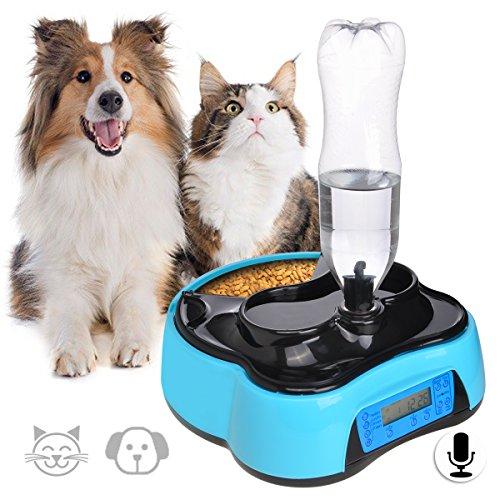Iseebiz 自動給餌器 猫 犬 自動餌やり機 自動給餌機 オートフィーダー 自動給水 録音 定時1.6L 子犬 老犬