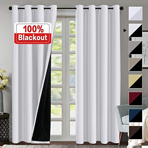 Double Layer 100% Blackout Curtains for Bedroom 84 Inches Long Thermal Insulated Lined Curtains for Living Room | Full Light Blocking Energy Saving Grommet Drapes Draperies, 2 Panels, White