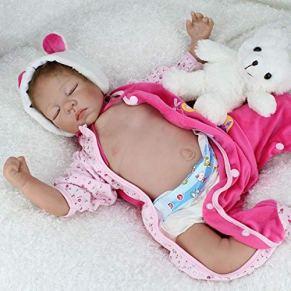 iCradle Muñecas 22Inch 55cm Reborn Baby Doll Tela Suave Cuerpo Cubierto Vientre Placa Simulación Realista Dormir Bebe Reborn Dolls Juguetes para niños pequeños