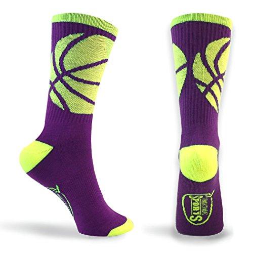 Basketball Sock | Athletic Mid Calf Woven Socks | Basketball Wrap | Purple and Neon Yellow