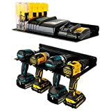 StoreYourBoard Electric Drill Storage Rack with Storage Shelf, Holds 4 Drills & Batteries, Hanging Wall Mounted Organizer for Garage, Home, Workshop, Shed