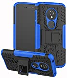 Yiakeng Moto G6 Play Case,Moto E5 5.7' Tracfone(XT1920DL), Moto G6 Forge case, Dual Layer Shockproof Wallet Slim Protective with Kickstand Phone Case Cover (Blue)