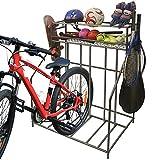 Omreid 3 Bike Stand Rack with Garage Storage,Metal Bike Rack for Garage Organizer,Bike Rack for Mountain, Hybrid Bike,Storing Helmets,Balls,4 Hooks Hold Sports Equipments,for Adult