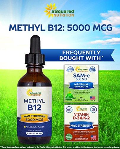Vitamin B12 Sublingual Liquid Drops - 5000 MCG Supplement with Methylcobalamin (Methyl B-12) - Max Absorption B 12 to Increase Energy & Metabolism - Vegan Friendly - 2 fl oz 4
