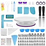 Orache 207 Cake Decorating Sets for baking beginners,61 baking tips &Russian piping tips& Nozzles-Baking tools,icing pen,Cake Turntable Stand, Piping bag with Tips &disposable bag ties