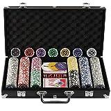 Display4top Juego de póquercon 300 Chips Láser 12 Gramos Núcleo de Metal, 2 Barajas de Cartas, Distribuidor, ciega pequeña, Big Blind Buttons y 5 Dados (300 Chips)
