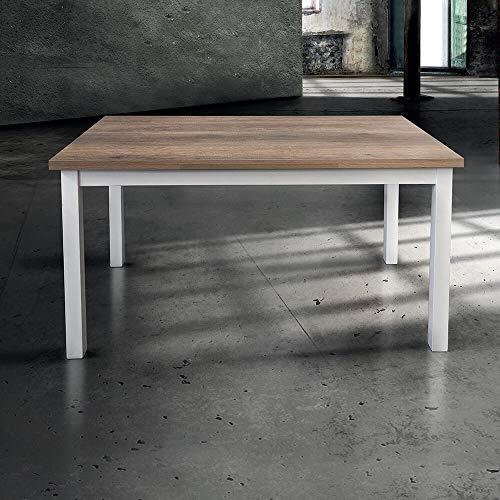 Milani Home s.r.l.s. Tavolo da Pranzo Moderno di Design ALLUNGABILE CM 70 X 110/150/190 Struttura Bianca Piano Tortora...