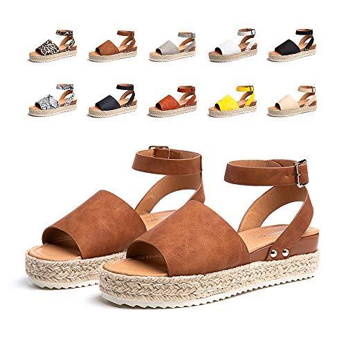 Sandalias Mujer Verano Plataforma Alpargatas Esparto Cuña Zapato Punta Abierta HebillaComodas Marrón Talla 40 EU