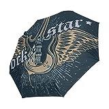 Ahomy Rock Star Guitarras paraguas plegable lluvia viento automático bloqueador solar compacto viaje paraguas para mujeres hombres