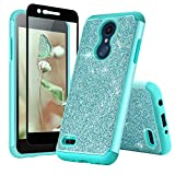 TJS Phone Case for LG K10 2018/K30 2018/Premier Pro LTE/Harmony 2/Phoenix Plus/Xpression Plus, with [Tempered Glass Screen Protector] Glitter Bling Girls Women Dual Layer Heavy Duty Hybrid (Teal)