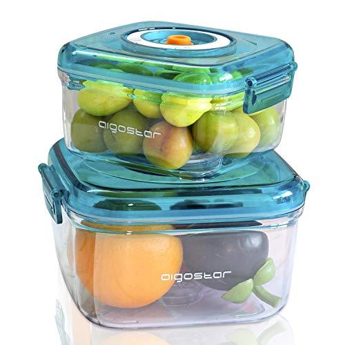 Aigostar Contenitori per alimenti sottovuoto, confezione da 2 pezzi, materiale durevole per alimenti. Dispone di un indicatore di numero per segnalare la data