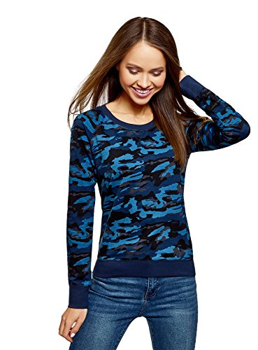 oodji Ultra Mujer Suéter Básico de Algodón, Azul, ES 36 / XS