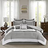 Comfort Spaces Malcom 7 Piece Comforter Set Ultra Soft Microfiber Hypoallergenic Bedding, Queen, Grey