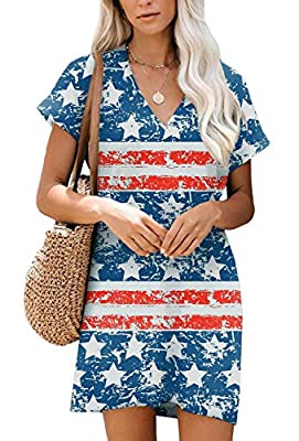 "JULY 4TH DRESS - This Drop Shoulder V Neck Dress is Such a Delightful Choice for Any Summer Day! It Features V Neckline and Patch Pockets Details. More Summer Clothing Can Search ""Clarisbelle Dress"". SIZE INFORTMATION - S US(4-6), M US(8-10), L US(12..."