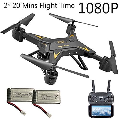 APJS KY601S Drone FPV WiFi Adulti Quadcopter UAV Frame con Telecamera, 20 min di Volo Active Track, 1080P Ultra HD Droni quadricottero Gimbal RC, Altitudine Attesa, App Controllo,Nero