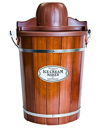 Nostalgia ICMP600WD Electric Bucket Ice Cream Maker With Easy-Carry Handle, Makes 6-Quarts in Minutes, Frozen Yogurt, Gelato, Made From Real Wood, Brown