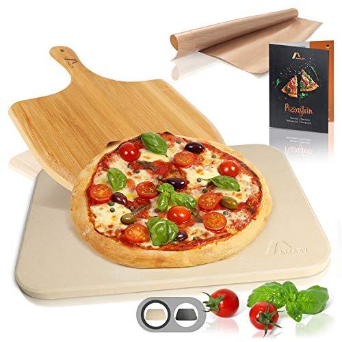 Amazy Pietra refrattaria per Pizza da Forno, incl. Pala in bamb, Carta da Forno Riutilizzabile e Ricettario Pietra Pizza dal Sapore Italiano (38x30x1,5cm)