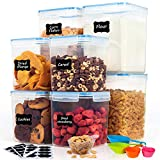 Airtight Food Storage Containers with Lids- HOOJO 8 Piece (4.7QT and 2.3QT) Plastic Containers for Flour, Sugar and Baking Supply, BPA Free Containers for Kitchen Pantry Organization and Storage