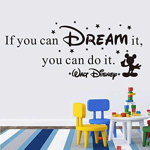 SHELLSTYLE Inspirational Wall Decals Quotes (If You can Dream it, You can do it.)