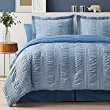 Bedsure King Comforter Set 8 Piece Bed in A Bag Stripes Seersucker Soft Lightweight Down Alternative Blue Bedding Set 102x90 inch