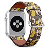 Compatible with Apple Watch (Small Version) 38 / 40mm Leather Wristband Bracelet with Stainless Steel Clasp and Adapters -Cartoon Pug Puppy