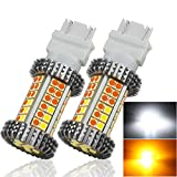 MOSNOKT 3157 Error Free Canbus Ready Dual Color Switchback LED Turn Signal Light Bulbs DRL Parking Lamp No Hyper Flash White/Amber Yellow 2-Pack (3157)