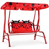 Costzon Patio Swing, Porch Swing with Safety Belt, 2 Seats Outdoor Lounge Chair Hammock with Canopy, Patio Deck Furniture for Kids (Ladybug Pattern,Red)