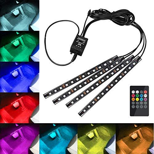 Favoto Luci LED Interne per Auto con 4 Barre 48 LED Colorati per Illuminazione e Decorazione Interna dAuto con Telecomando