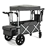 PA Collapsible Folding Wagon with Canopy Portable Cart with Wheels Fold up Beach and Shopping Wagon
